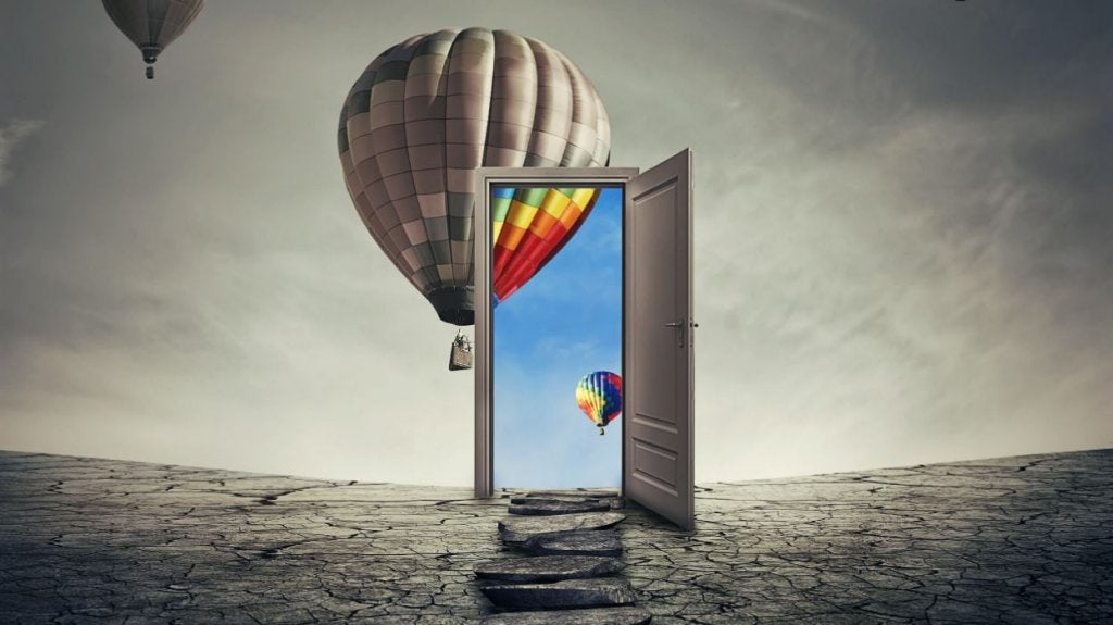 doorway with hot air balloons