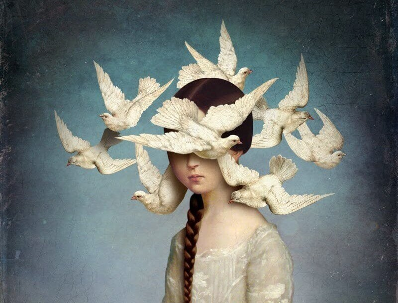girl with birds circling head