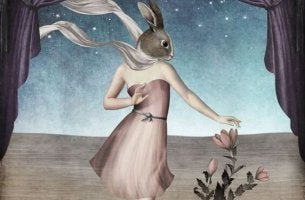 A girl has a dress and a bunny head.