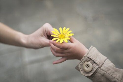 One hand in passing a yellow flower to another hand.