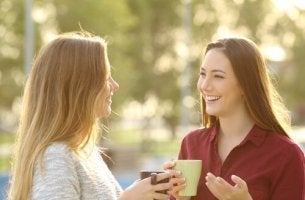 two girlfriends talking