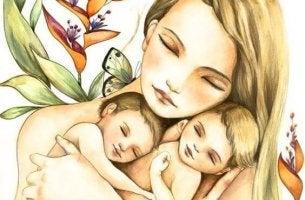 woman hugging her children