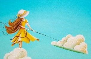 woman lassoing cloud
