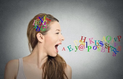 woman spewing out colorful letters