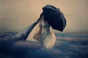 woman with black umbrella