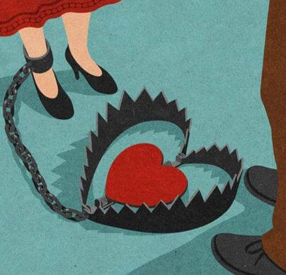 woman with heart in bear trap