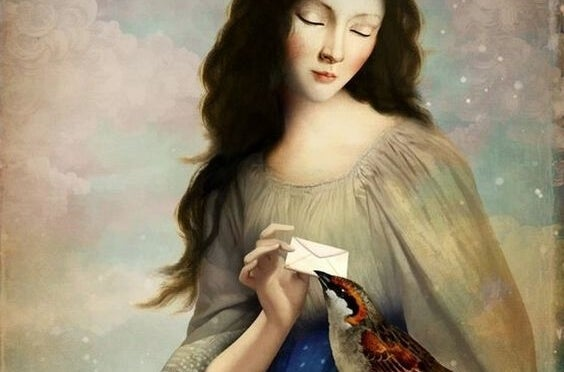 Gossips: a beautiful woman giving a bird a letter.