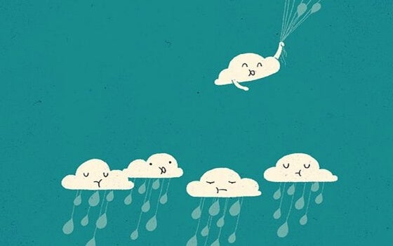 sad clouds with rain and a happy cloud with balloons