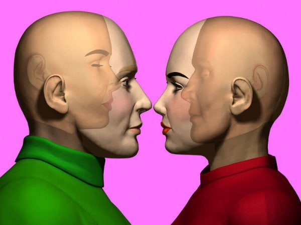 two people facing each other