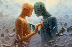 human figures touching each other's heart