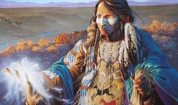 Native American shaman in the hills