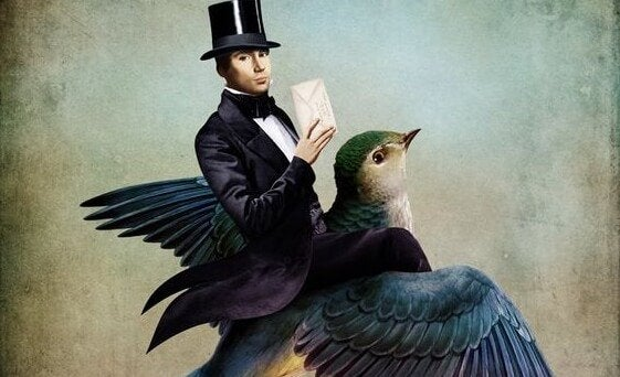 A man holding an envelope is riding a giant bird.