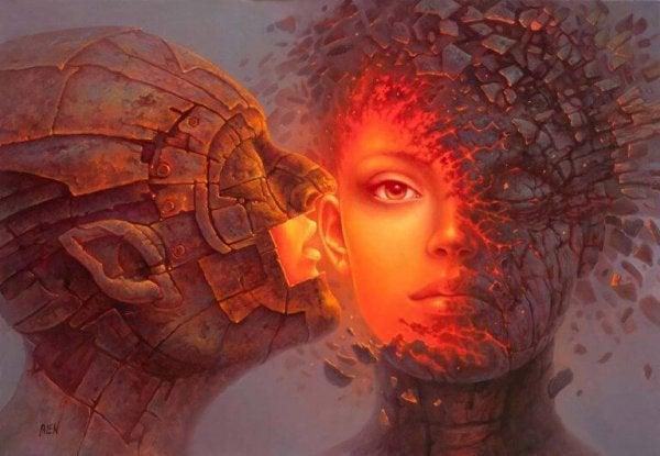 man speaking into woman's ear, layers peeling off