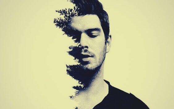 a man with a treeline profile