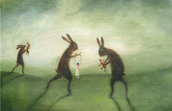 giant rabbits holding human puppets