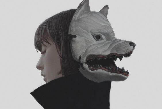 a woman with a wolf mask, symbolizing sarcasm
