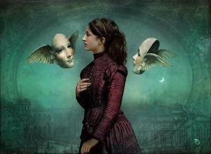 A Victorian woman with winged masks.
