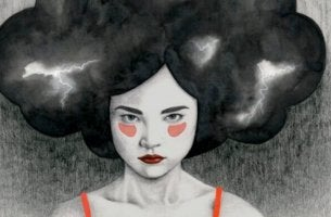 a woman with a black cloud over her head