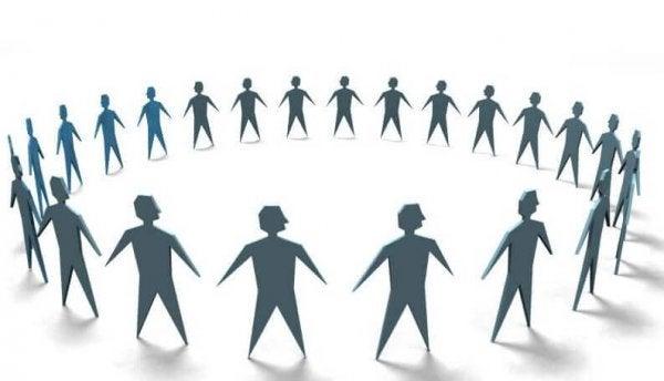 a circle of stick figure men