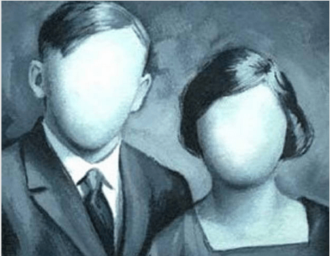 a portrait of a faceless couple
