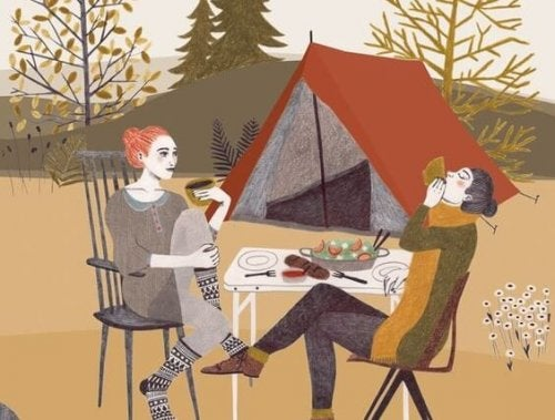 Two people camping.