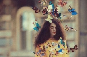 A woman with colorful butterflies