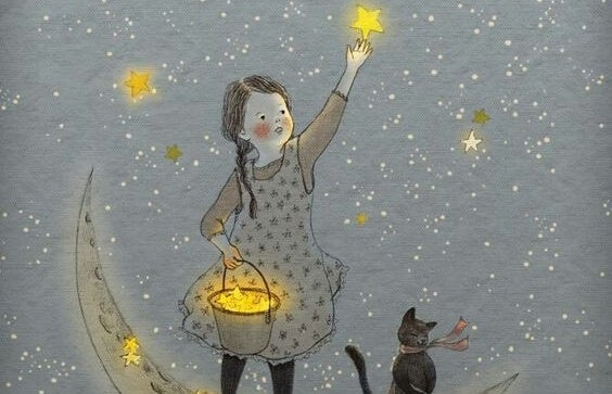a little girl collecting stars from the sky and putting them into her bucket