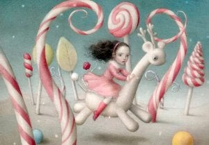 a little girl in a fantasy world with candy