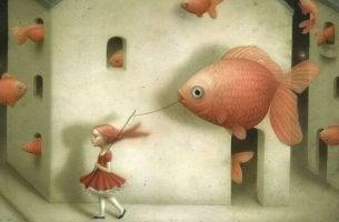 a little girl carrying a big fish balloon