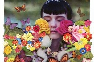 Ben Giles art: a girl in flowers with colorful butterflies around