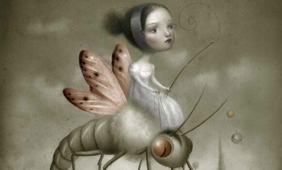 a girl in a fantasy world riding an insect with wings