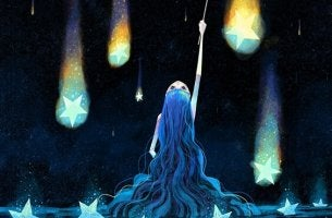 a girl playing with the stars