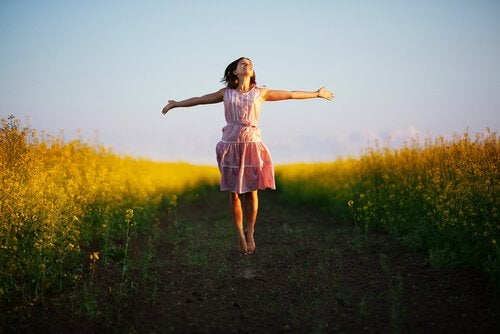 Happy woman personal growth