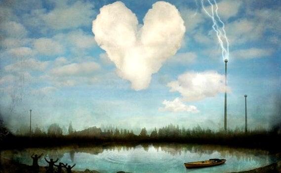 a heart-shaped cloud above pond