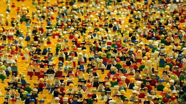 a crowd of lego people