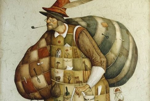 a man carrying two big sacks smoking a pipe