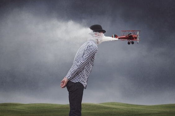 a plane blowing air into a man's face