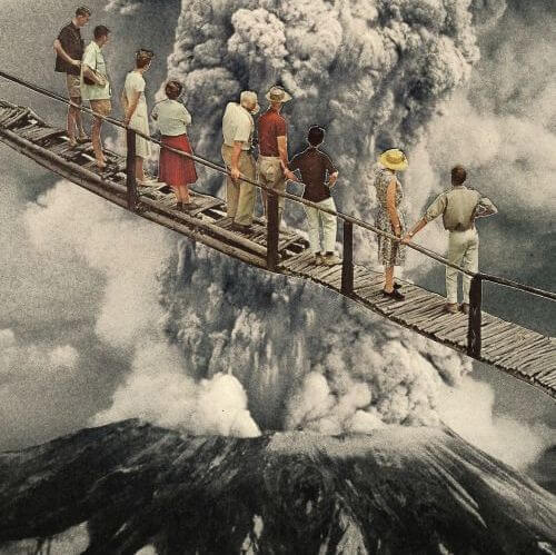 People standing on a bridge, tourists, watching a volcano erupt.