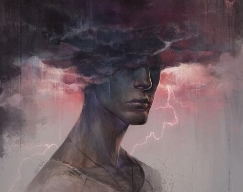 a man with his heads in the stormy clouds, holding others responsible for his happiness