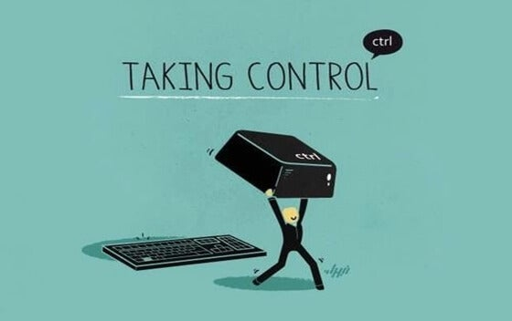 a cartoon of a man taking control