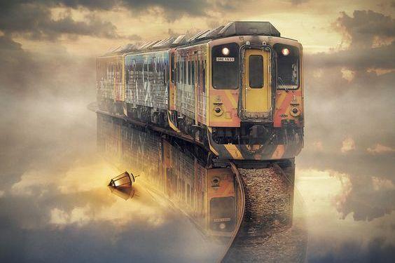 A train travelling in a fog.