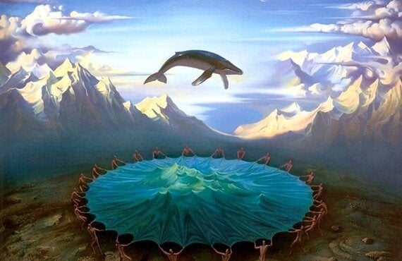 A whale bouncing on a huge trampoline.