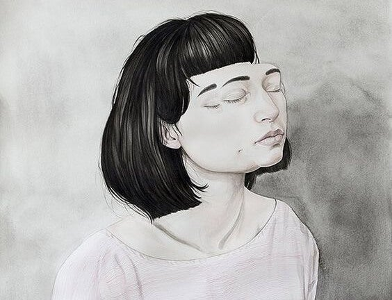 a woman with her eyes closed