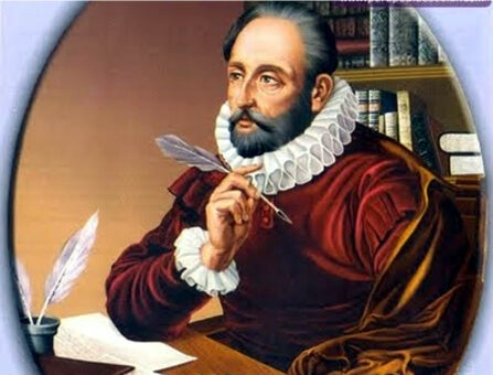 A portrait of Cervantes with a quill in his hand.