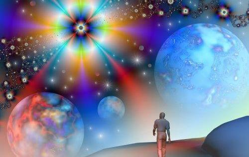 A man is walking through a colorful universe.