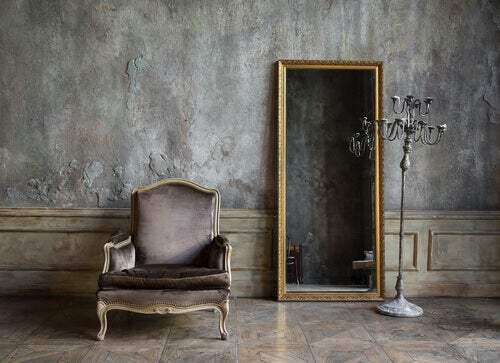 Home decor: a mirror and chair.