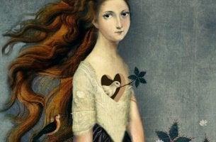 bird in girl's heart