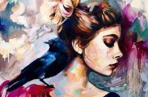 bird on woman's shoulder