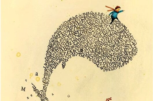 a boy riding a whale made of letters