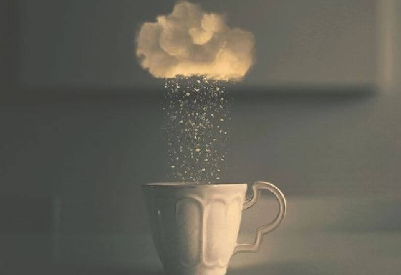 Painful experiences: a cloud snowing over a mug.